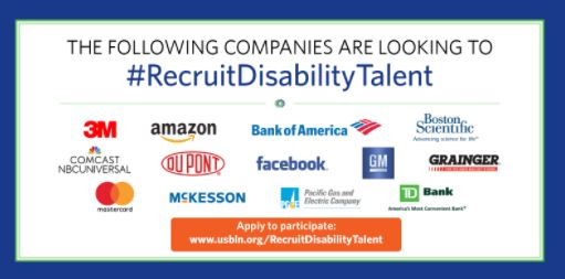 Graphic promoting USBLN's #RecruitDisabilityTalent virtual career fair. Learn more at www.usbln.org/RecruitDisabilityTalent